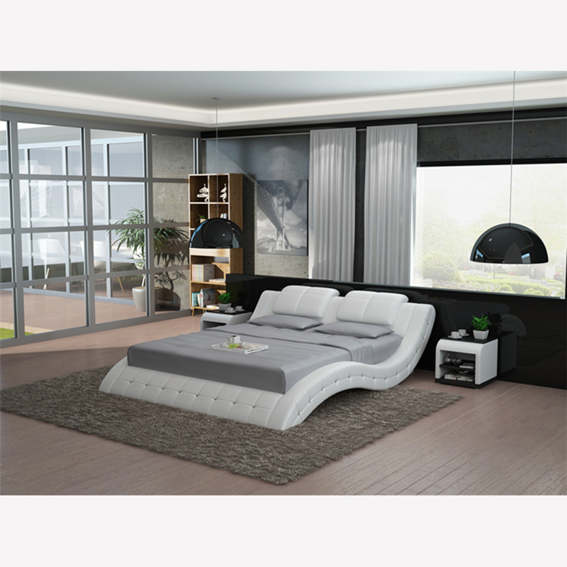 LB8824 white black s shape king bed modern leather beds-in ...