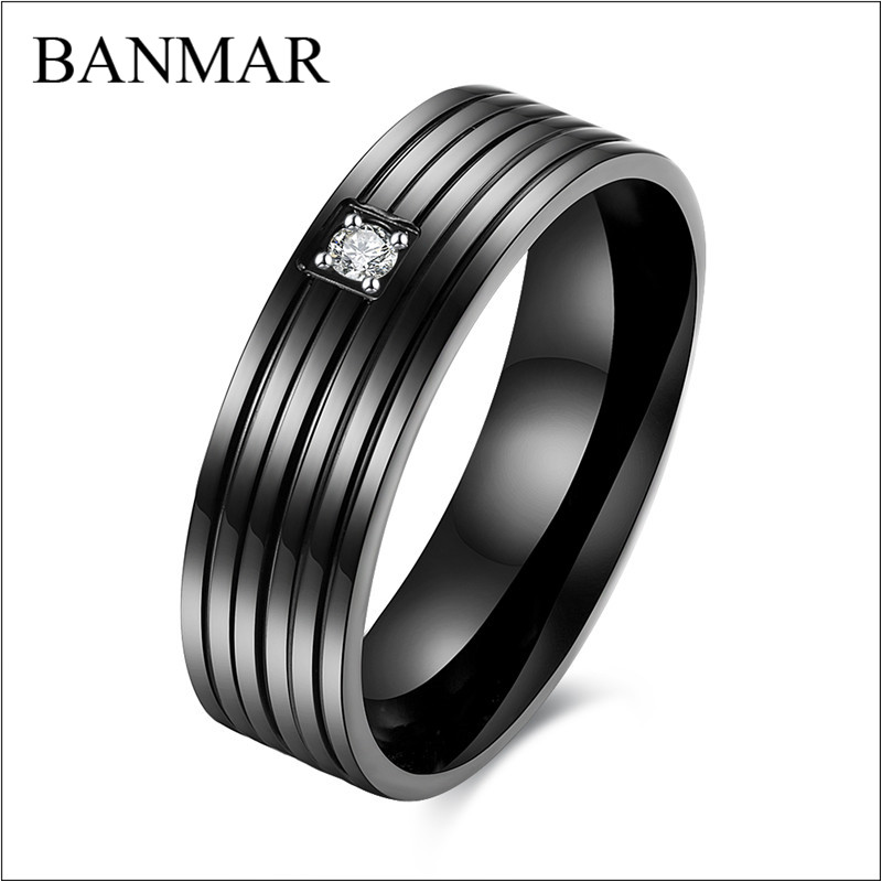 Banmar Elegant Black Stainless Steel Ring Jewelry Fashion Tungsten Wedding Engagement Promise Band Cz Zirconia In Rings From