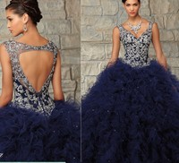 2018 Ball Gown Organza Quinceanera for 15 years masquerade vestido debutante 15 V neck Beading Tank Mother of the Bride Dresses