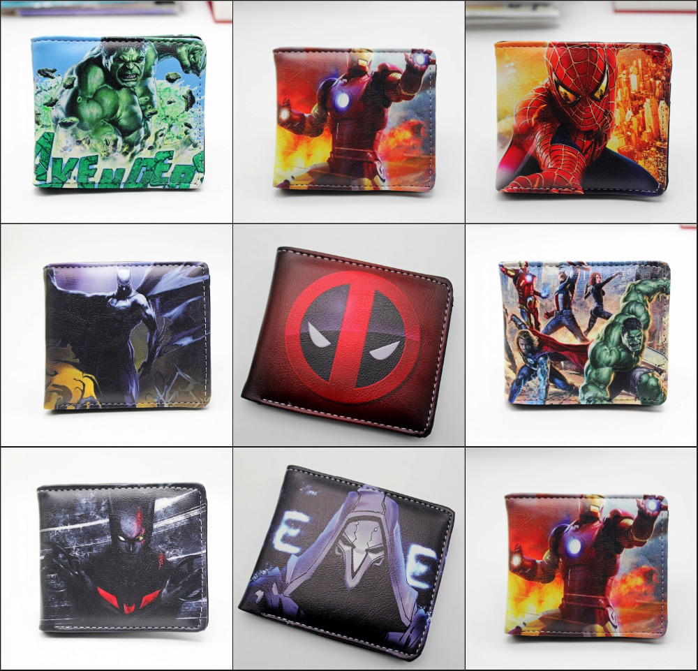 Comics DC Marvel The Avengers Wallets Captain America Iron Man Purse Simpson Spiderman Superman Batman Leather PU 13 style marvel comic stationery pencil purse case superman batman captain america spider man iron men deadpool long zipper pen wallets