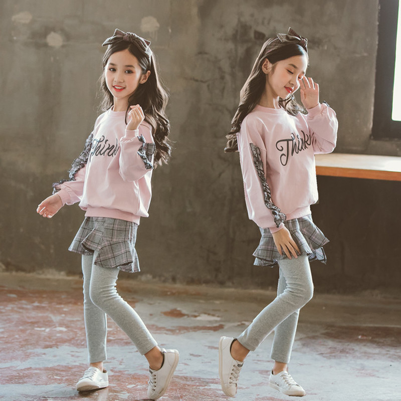 3-13Yrs Teenager Girls' Sports Set 2Pcs Pullover Letter Embroidery Sweatshirt + Culottes Girls' Spring & Fall Clothing Set CA310 цена 2017