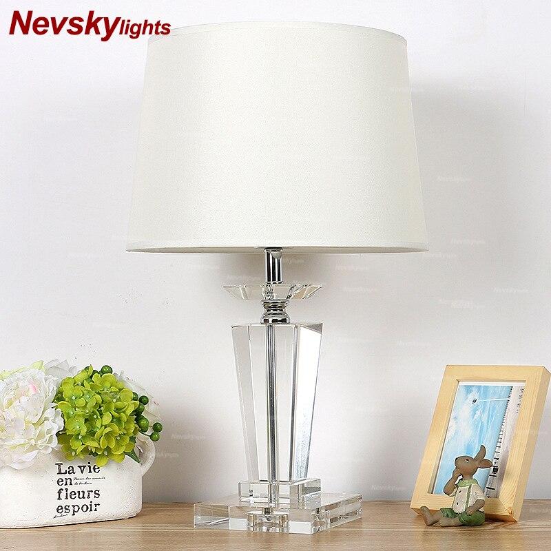 גביש מנורת שולחן שינה לבן צל שולחן אורות סלון גביש בסיס מודרני עיצוב הבית led שולחן אורות המיטה-במנורות שולחן LED מתוך פנסים ותאורה באתר