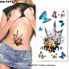 Nu-TATY Butterfly Fairy Lady Temporary Tattoo Body Art Arm Flash Tattoo Stickers 17x10cm Waterproof Fake Henna Painless Tattoo