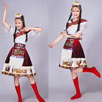 Современные китайские народные Танцевальный костюм для Для женщин Длинные рукава и коротким рукавом традиционная Танцы платье костюмы нар...