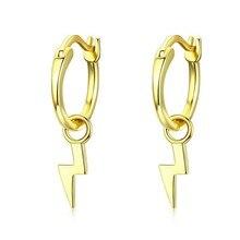 Golden Lighting Drop Earrings for Women Real Pure 925 Sterling Silver Dangle Earring Female Korean Jewelry SCE621