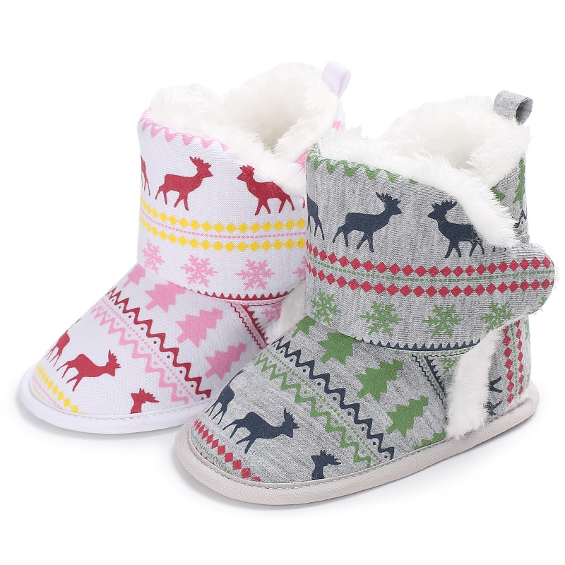 Warm Winter Autumn Baby Boys Girls Vintage Xmas Pattern First Walkers Cotton Toddler Cack Baby Shoes