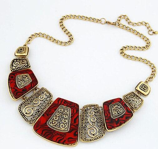 Bohemian Geometric Design Choker Resin Necklaces