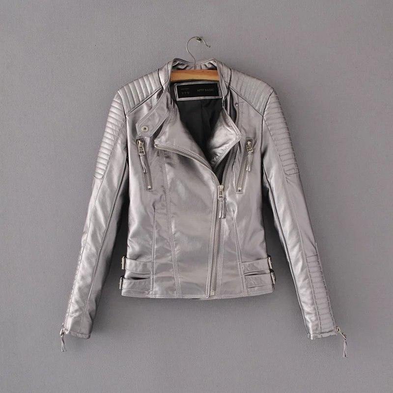 Motorcycle   Leather   Jacket Women's clothing Slim   Leather   &   Suede   Jacket Short paragraph Fashion Autumn PU   leather   Coat female
