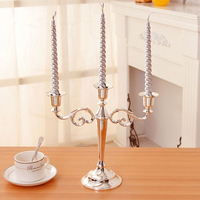 Metal Silver/Gold Plated Candle Holders 3-Arms Stand Zinc Alloy High Quality Pillar For Wedding Portavelas Candelabra