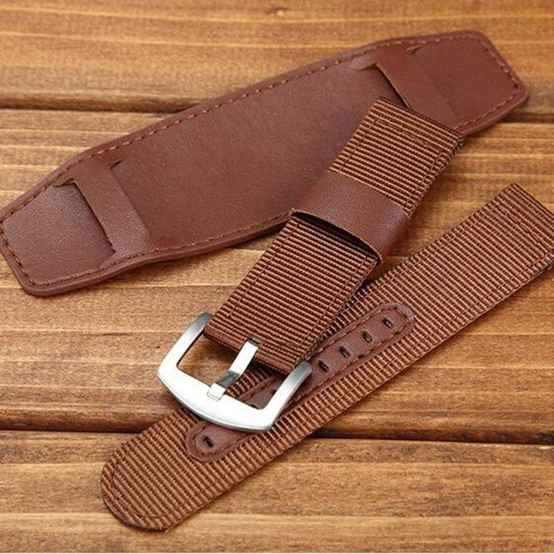 Universal Nylon Armband Leder Futter Armband 18mm 20mm 22mm 24mm - Uhrenzubehör - Foto 5