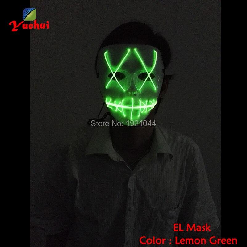 Оптовая продажа светящиеся код 30 штук EL Провода Световой Маска составляют ночь флуоресцентный маска событие для вечеринок звуковой контро