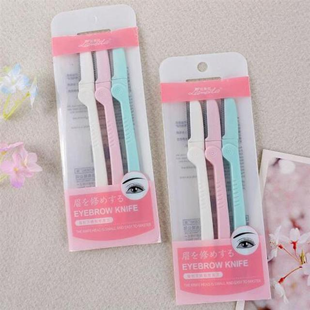 3PCS Eyebrow Razor Portable Folding Eyebrow Shaper Facial Razor Makeup Tool Kit Eyebrow Trimmer for Ladies Women Girls