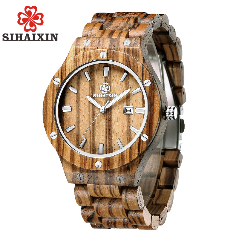 SIHAIXIN watches men natural zebra wood band clock male bracelet top brand luxury vintage unique watch calendar modern men gift sihaixin men watch de wood top brand red calender special watches for male with unique design all wooden clock man relogio