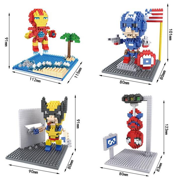 HSANHE Micro Blocks Super Hero Ironman 3D DIY Building Bricks Spiderman Mini Auction Model  Captain America Kids Gift 8170-8173 loz mini blocks batman robin ironman thor loki harley quinn poison mini super hero bricks diy building blocks toys gift