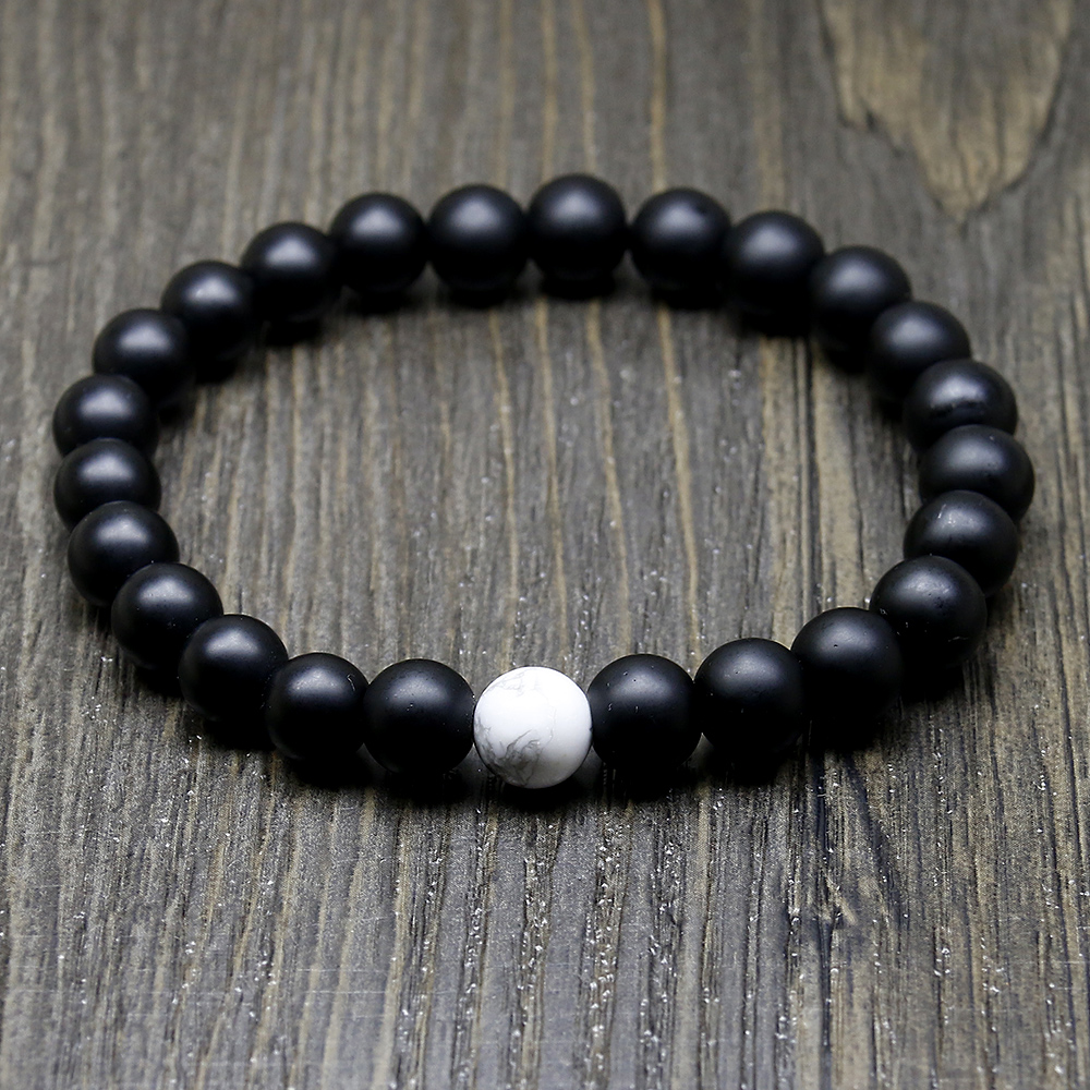 Onyx and Howlite Mala Bracelet 1