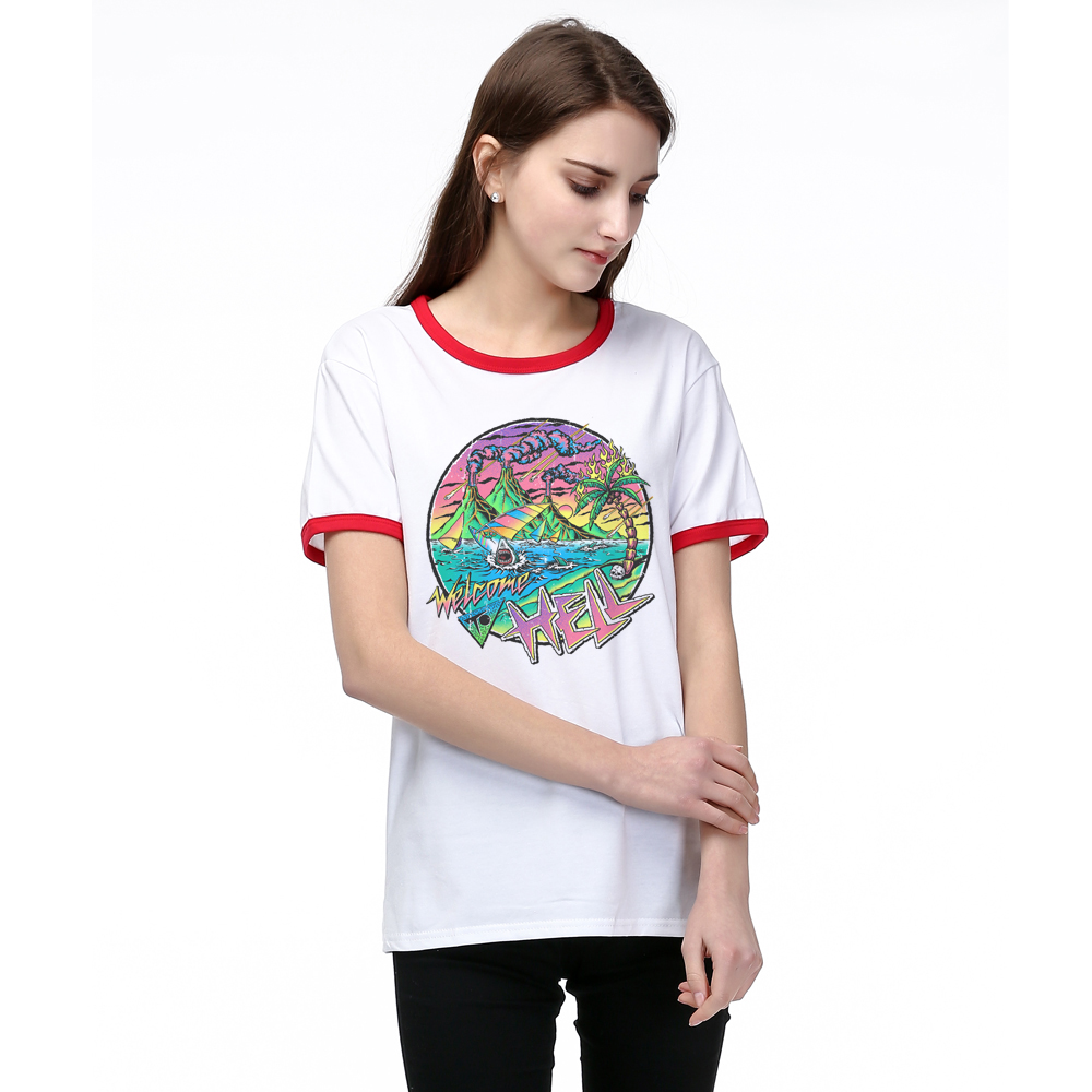 Hillbilly Summer Novelty Women T Shirt Harajuku Plus Size Clothes Short Sleeve Print Welcome to Hell Cotton Funny T shirt Women
