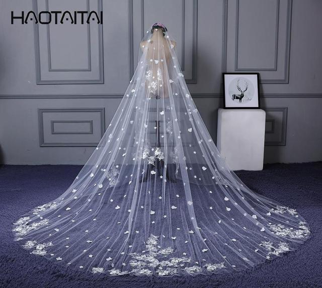 US $39 88 |Aliexpress com : Buy Bridal Veils 2018 New Width 3M and Long 4M  Real Pictures in Stock One Layer Big Flower Pattern Appliques Veil from