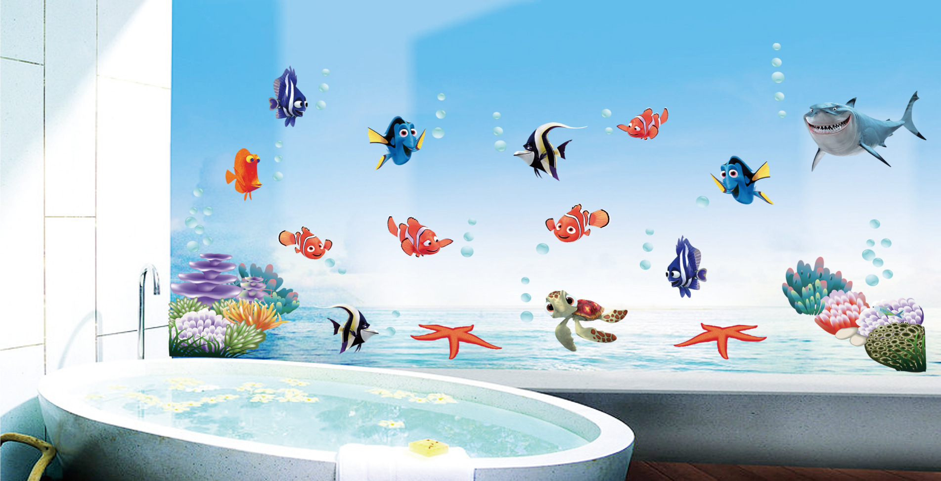 Aliexpress.com : Buy Finding Nemo Wall Stickers Decals Art For Baby Nursery  Kid Girl Boy Room Home Decoration WallPaper Cartoon Fish Blue Sea Poster  From ... Part 17
