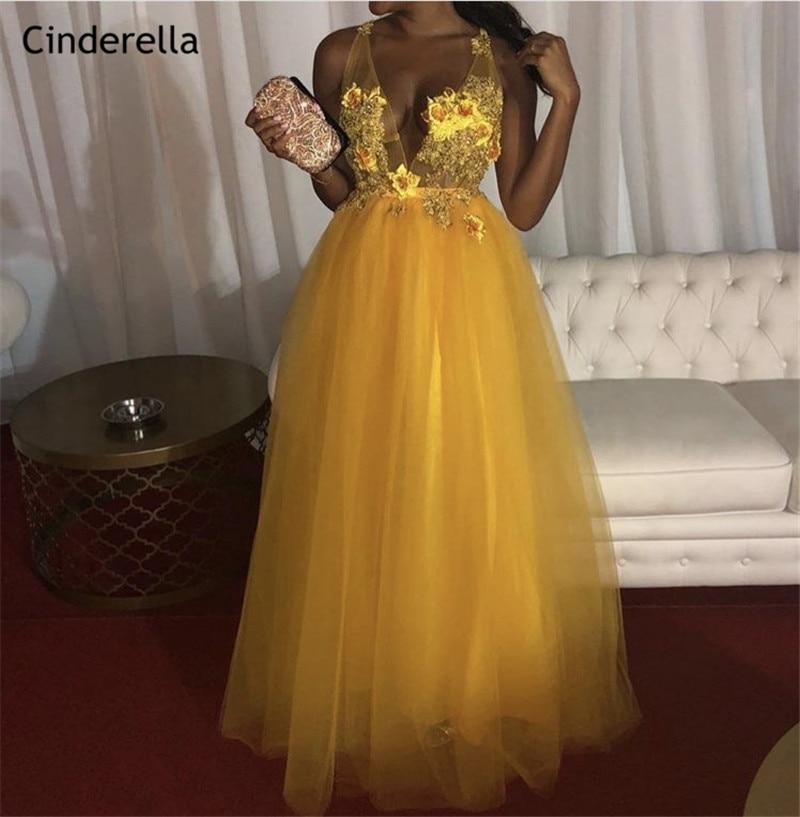 Cinderella African Yellow V-Neck Sleeveless Lace Applique Crystal Beaded Soft Tulle   Evening     Dresses   vestidos de fiesta de noche