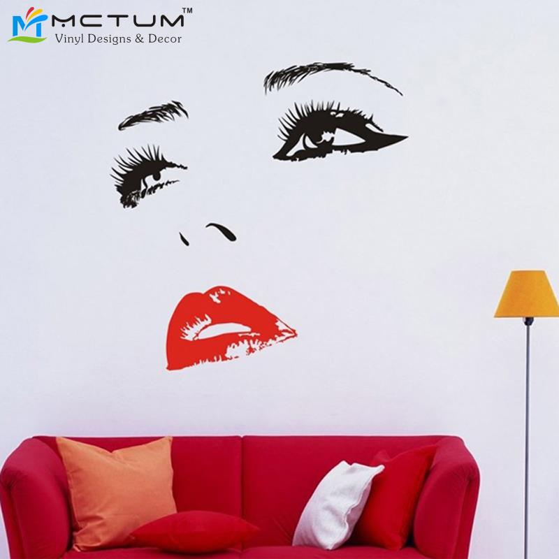 Modern Beautiful CHERYL COLE Face Eyes And Lips Makeup Wall Stickers Art Decals Poster for Living Room Bedroom Home Decoration