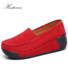 Hosteven Women Shoes Flat Moccasins Sneaker Loafers Cow Suede Leather Spring Autumn Female Ladies Shoe