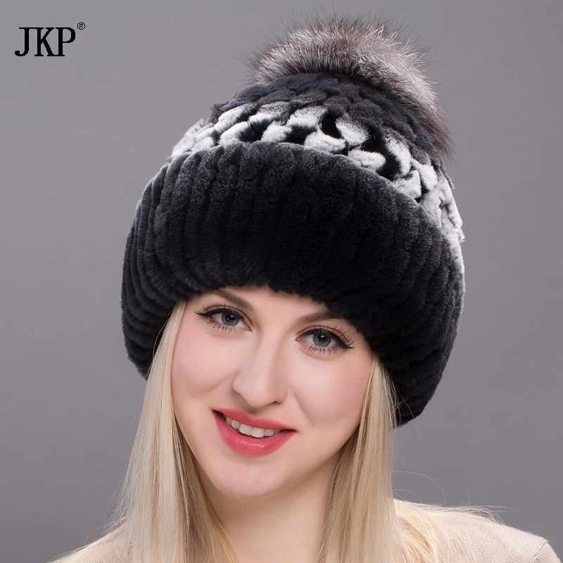 fur hat women real natural rex rabbit cap Winter with fox fur Pom poms knit hat 2018 new good quality lids THY17-14