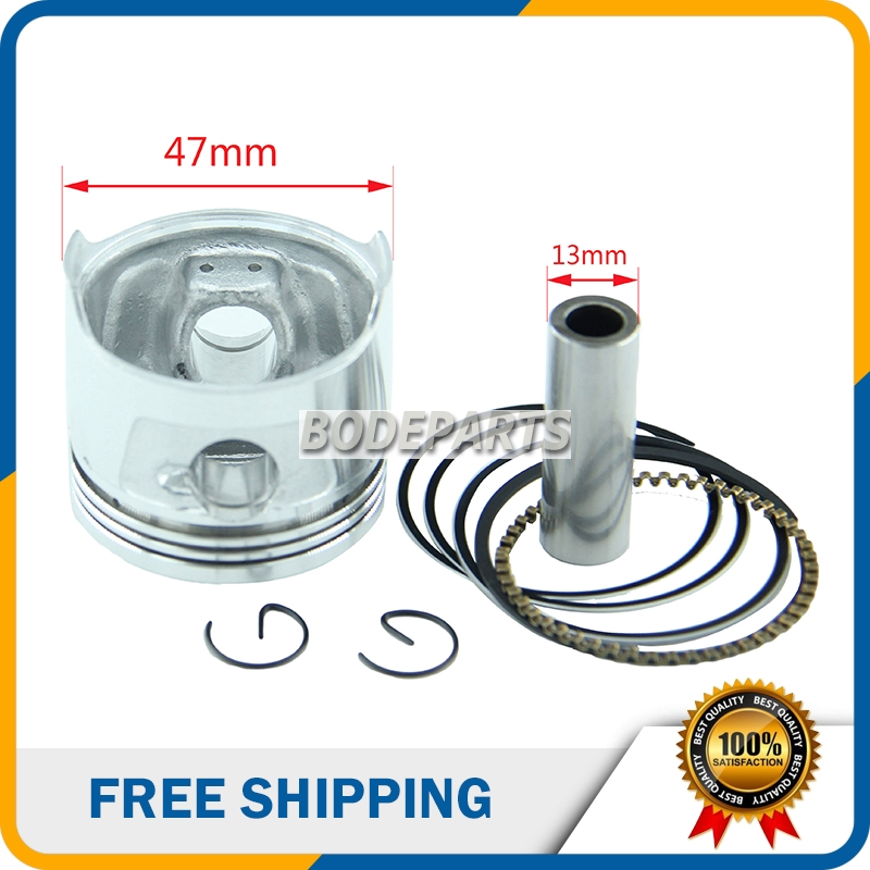 HH-126 Chinese dirt bike Motorbike Parts ATV Parts 47mm Piston Kit 13MM for <font><b>Lifan</b></font> Zongshen Loncin <font><b>engines</b></font> HORIZONTAL <font><b>70CC</b></font> image