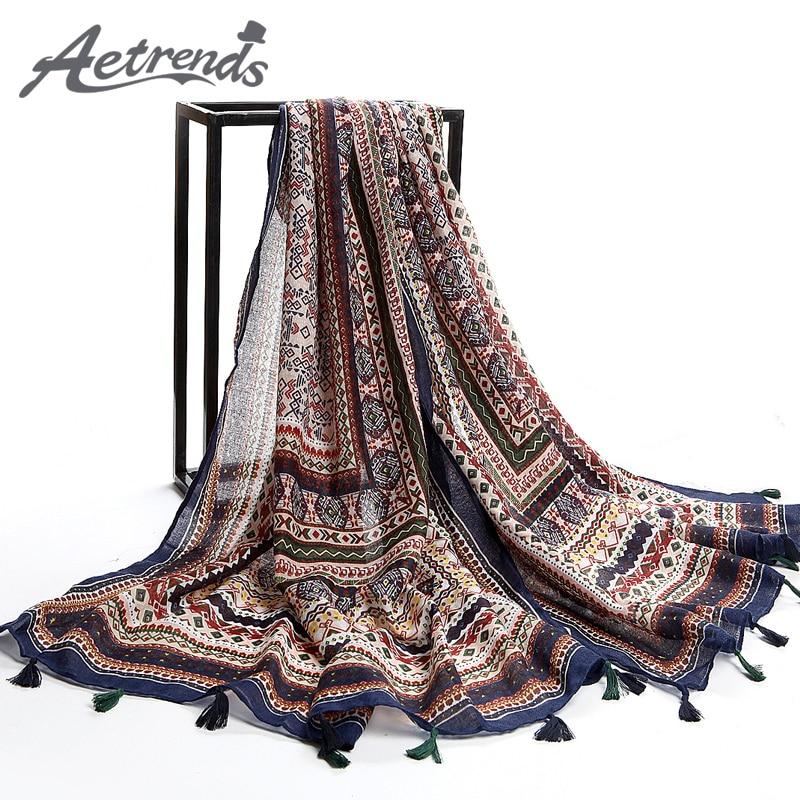 [AETRENDS] Twill Cotton Bohemia Thailand Style Pashmina withs