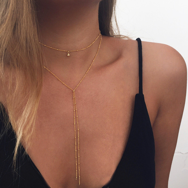 Multilayer Coin Star Moon Pendant Choker Necklace For Women Bead Tassel Chain Chocker collier ras du cou Charm Necklace Jewelry