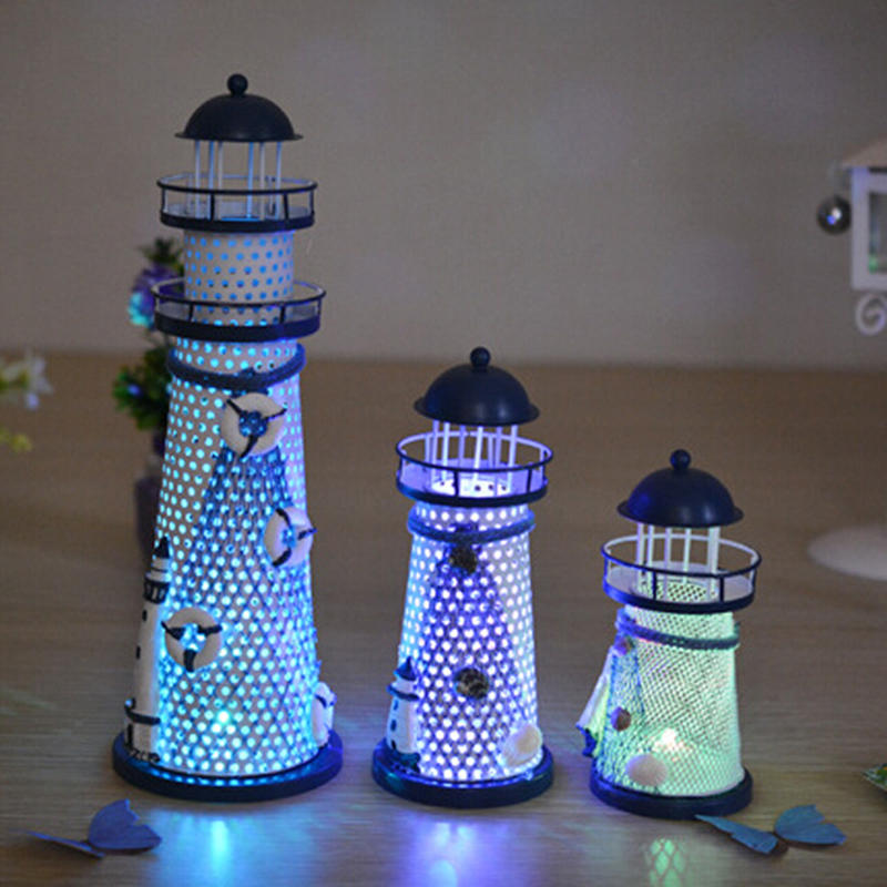 1 Piece Desk Decor Lighthouse Figurines Metal Craft Light House Beacon Home Decoration Maritime Navigation Night Light House