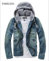 2019 Cotton Hooded Streetwear Denim Jacket Men Spring New Hat Detachable Mens Jackets And Coats Hipster Zipper Chaqueta Hombre