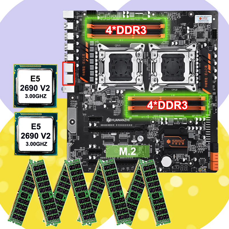 Discount Motherboard Bundle HUANANZHI Dual X79 Motherboard With 8 DDR3 DIMMs Dual CPU Xeon E5 2690 V2 RAM 128G(8*16G) 1866 RECC