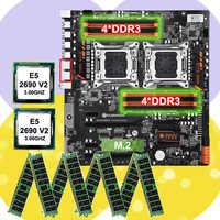 Remise carte mère paquet HUANANZHI double X79 carte mère avec 8 DDR3 DIMMs double CPU Xeon E5 2690 V2 RAM 128G (8*16G) 1866 RECC