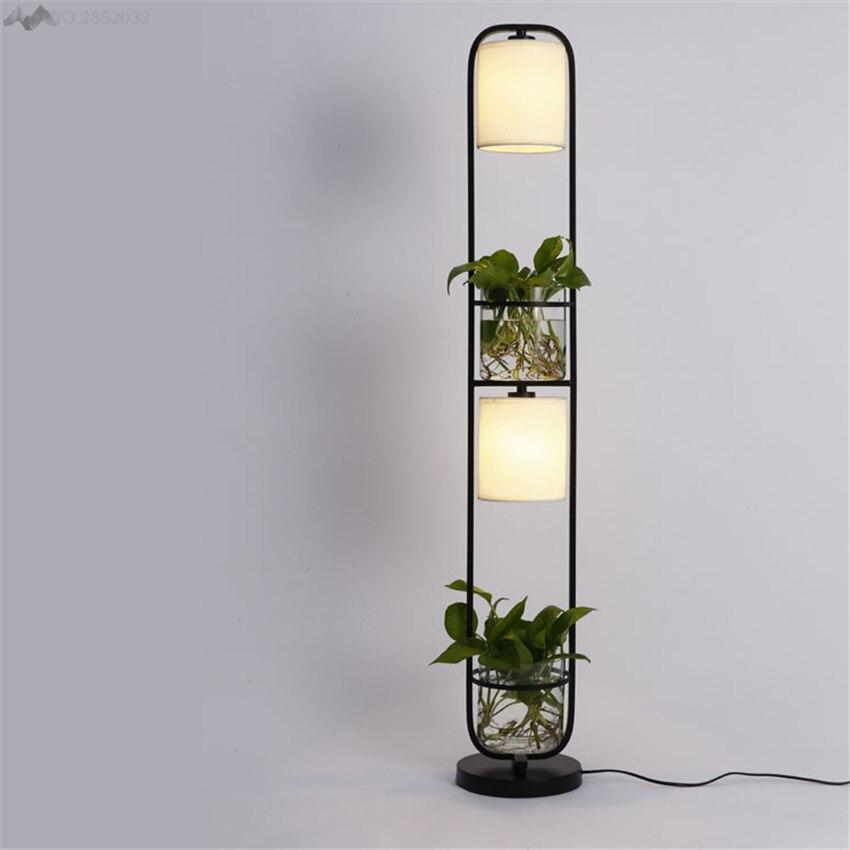 Modern Art Creative Plants Floor Lamp Plasscloth Standing