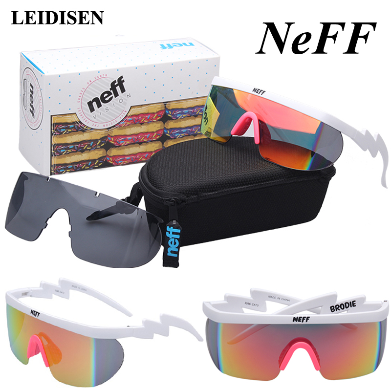 Com Caixa de Moda Óculos De Sol Dos Homens NEFF/Rua Das Mulheres designer de Marca Óculos de Sol Condução Óculos 2 Lente Oculos de sol feminino