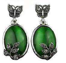 Hot Green Stone Earrings Silver Color Jewelry Natural Stone Stud Earrings Zircon Butterfly Big Large Earrings Gift For Women(China)
