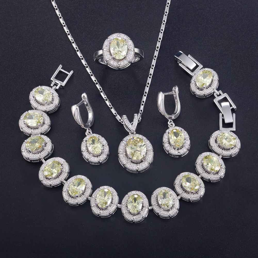 925 стерлингового серебра ювелирные наборы кулонов ожерелье серьги кольцо браслет оливковый зеленый цирконий Открытое кольцо T722 Подарки для женщин