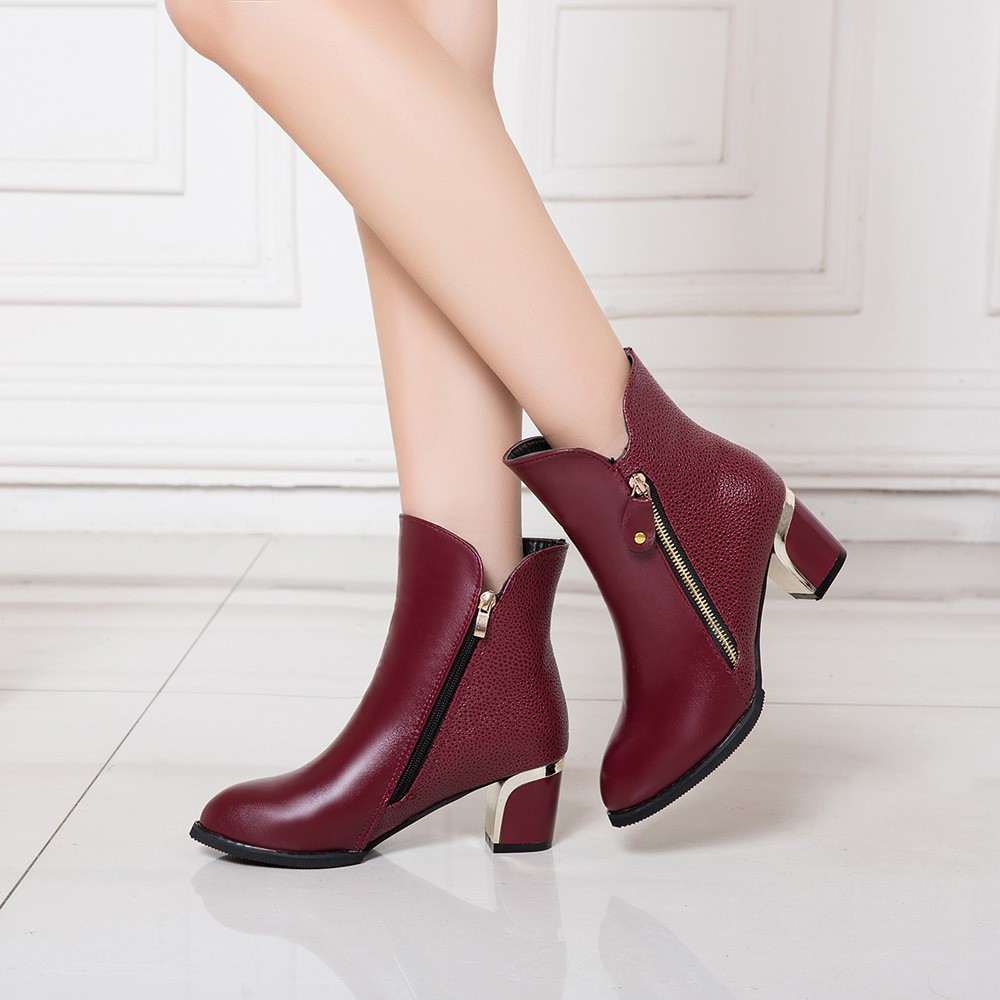 YOUYEDIAN Martin Boots Women's Shoes Thick-Heel Pointed Fashion Conforto England Pu -Bp804