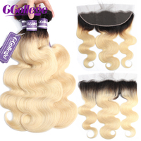 1B Black Root Body Wave Human Hair Blonde Bundles With Frontal Peruvian Remy Hair Pre Plucked Lace Frontal Closure With Bundles