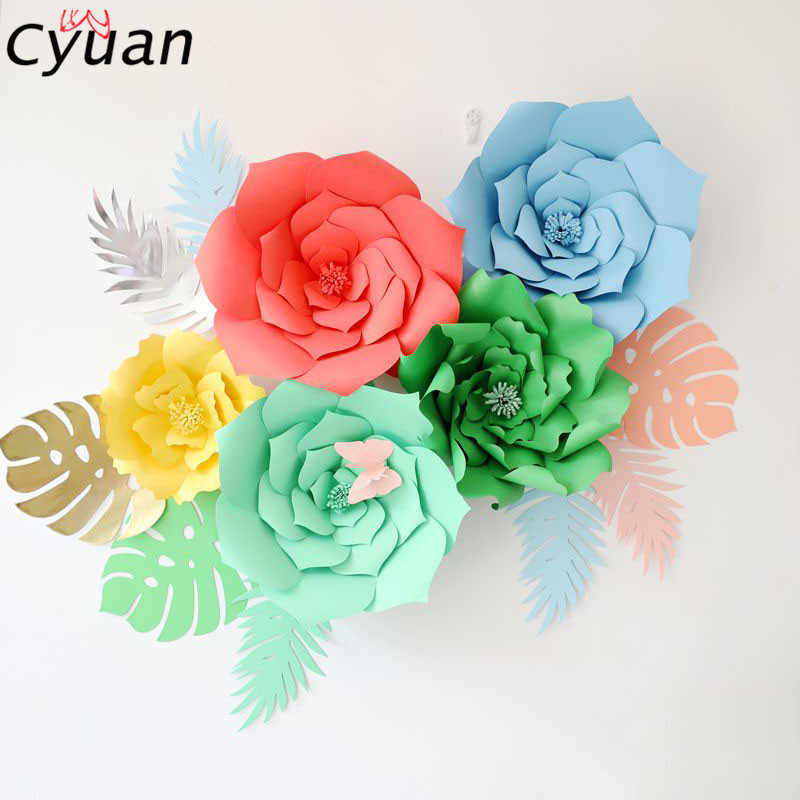 Cyuan 2Pcs 20cm DIY Paper Flowers Birthday Party Decoration Kids Artificial Rose Baby Shower Backdrop
