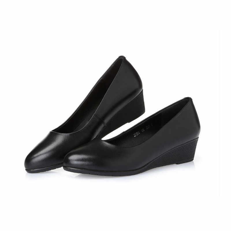 DRFARGO Giày Phụ Nữ Bơm Giày Da Chính Hãng OL Giày Da Bò Toe Vòng Cao Gót Nêm Phụ Nữ Văn Phòng Máy Bơm Làm Việc giày
