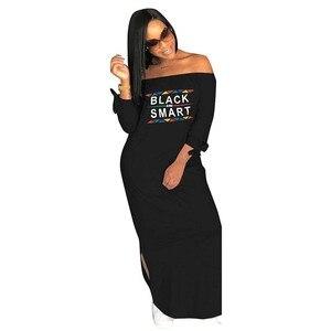 Image 2 - Africa Vestiti di Autunno Donne Sexy Casual Senza Spalline Side Split Manica Lunga Vestito lungo Allentato Lettera di stampa Più Il Formato S XXXL