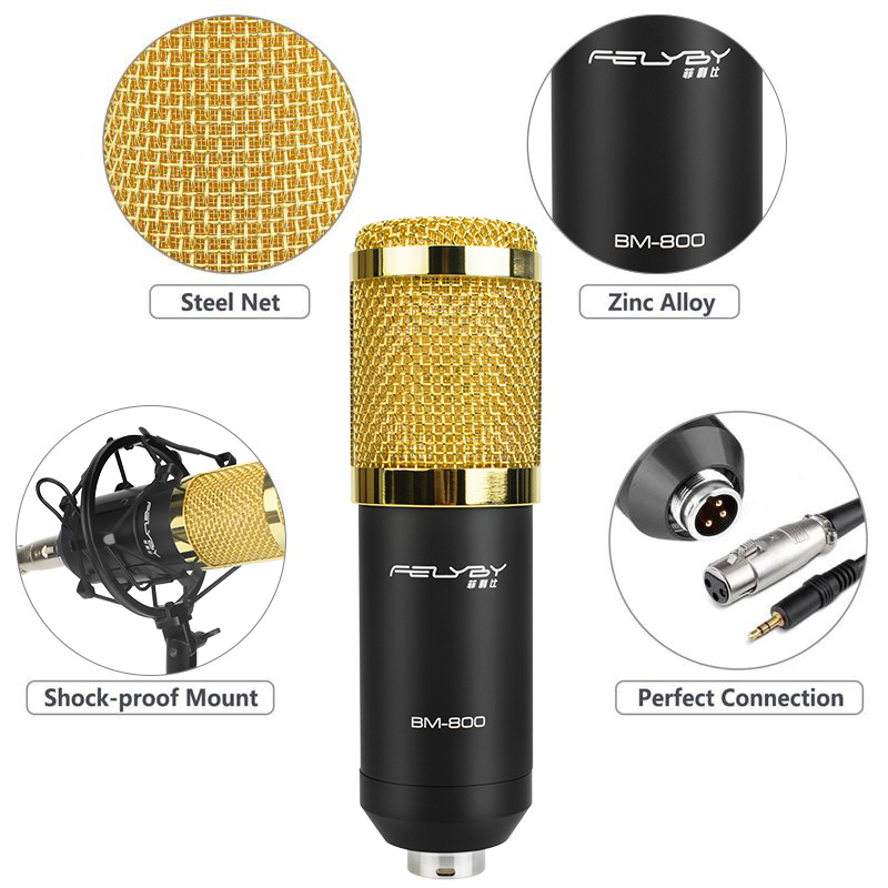 Image 2 - FELYBY bm 800 Profession Condenser Microphone For Computer Karaoke Video Studio Recording Mic Filter Phantom Power Sound Card-in Microphones from Consumer Electronics