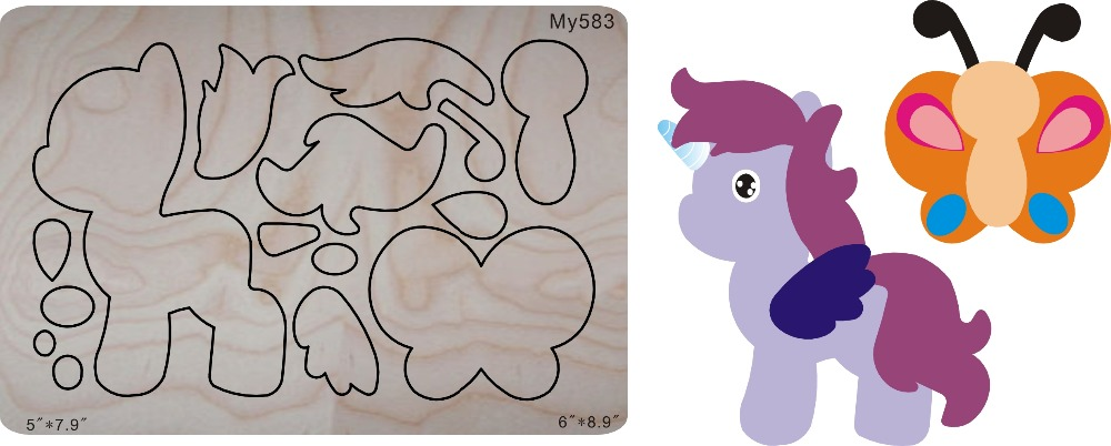 Unicorn / butterfly & Wooden dies for scrapbooking, fit sizzix bigshot machine
