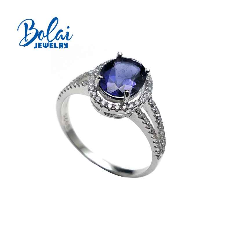 Bolaijewelry Natural Iolite oval 7 9 mm Gemstone Simple Ring 925 sterling silver fine jewelry for