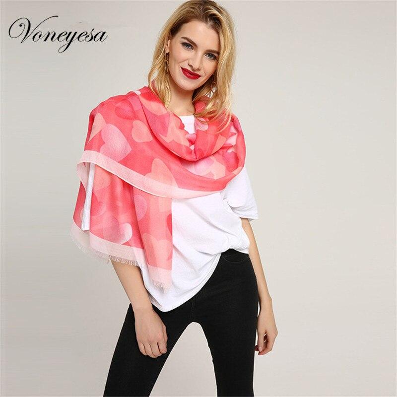 Voneyesa New Scarf Spring Fashion Printed Scarves Women Printed Love Heart Hijab Shawl Women Scarf Luxury Brand Heard Scarf