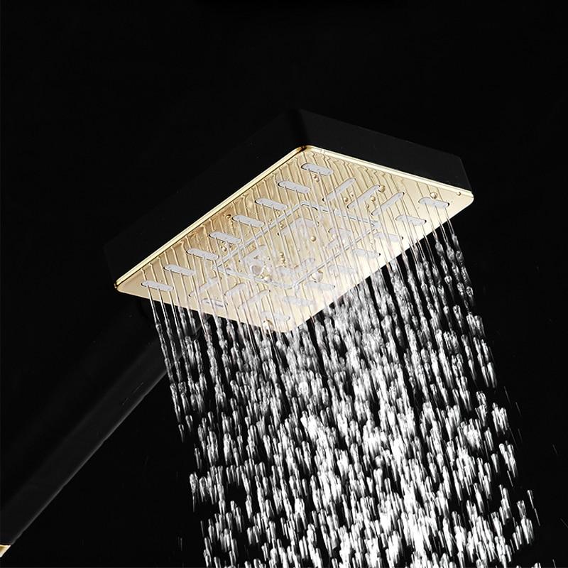 HTB1jZqXffImBKNjSZFlq6A43FXaJ Rainfall Shower Faucet Golden Black Bathroom Shower Set With Bidet Sprayer Mixer Tap Wall Mount Shower Hot Cold Water Tap