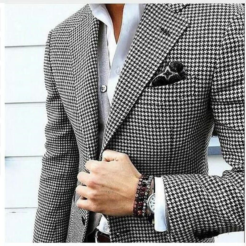 Mens Checkered Suit Houndstooth Custom Made Men Suit Jackets Tailored Casual Men Suits Duotone Weave Hounds