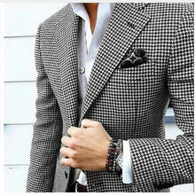 Mens Checkered Suit Houndstooth Custom Made Men Suit Jackets Tailored Casual Men
