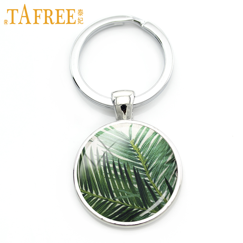 TAFREE 2017 Green tree keychain Tropical plant Different natural landscapes picture women men special gift trendy jewelry A593